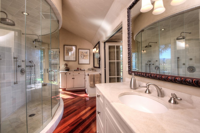large bathroom wooden floor