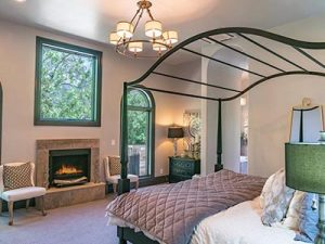 Bedroom of european style home in Calistoga